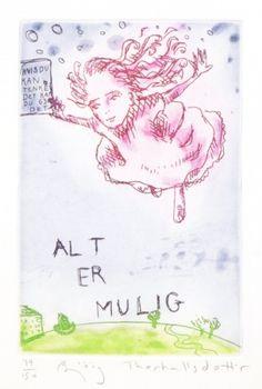 Kunstner: Bjørg Thorhallsdottir       Teknikk: Grafikk, etsning      Motiv 15 x 10 cm      Ark 28 x 20cm      Opplag150            K... My Arts, Binder, Kunst