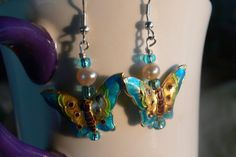 Blue Cloisonne Butterflies with fresh water by MarquisCreations, $9.96