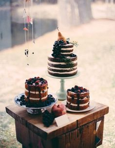 Planning a vineyard wedding? What desserts and cake would you like to have? Actually, you can have any you like but to highlight the wine theme you can choose a cake decorated with grapes and figs, and some fresh flowers and herbs.