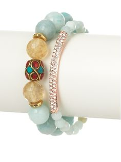 Devoted Jewelry Amazonite & Gold Quartz Stretch Bracelet Set at MYHABIT 62