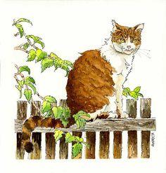 Chat plume et encre aquarelle dessin Illustration Tabby Tiger Stripe Cat cadeau idée originale pour orange de peinture des animaux de ferme aux amateurs chat vert