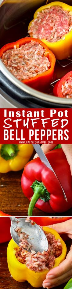 Instant Pot Stuffed Bell Peppers Instant Pot Stuffed Peppers -No pre-cooking of peppers or sautéing onion is needed. Simply fill with them and cook under pressure. Easy-peasy comfort food ready in no time! Instant Pot Pressure Cooker, Pressure Cooker Recipes, Pressure Cooking, Pressure Pot, Beef Recipes, Cooking Recipes, Healthy Recipes, Cooking Time, Recipies