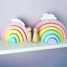 Let your little one's imagination run free with our 2 in 1 toy + decor wooden blocks! This Rainbow Wooden Blocks Toy is the perfect addition to your little ones space. We know it can get messy quick, so waste no space with this multifunctional toy! Get creative - use the arched rainbow as a tunnel during play time or rocking chairs for dolls. When play time is over, simply nest our blocks for an elevated decor piece. Details and Dimensions Safe: Rubberized non-toxic wood Multifunctional: Toy…