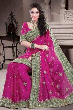 Rani pink Chiffon stone & zari worked saree in mehendi green border - Rs 16660