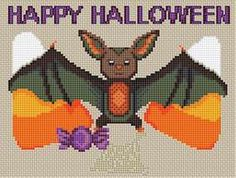 Free Cross Stitch Patterns! Cute and Adorable Halloween Bat!