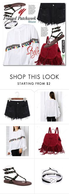 """""""Fringed Patchwork Blouse"""" by svijetlana ❤ liked on Polyvore featuring NARS Cosmetics"""