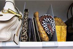 Organize purses using shelf dividers | OrganizingMadeFun.com