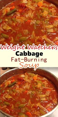 Cabbage Fat-Burning Soup Recipe Serving size: 1 cup WW SP: 1 INGREDIENTS : 5 carrots, chopped 3 onions, chopped 2 ounce) cans whole peeled tomatoes, with liquid 1 large head cabbage, chopped 1 ounce) envelope dry onion soup mix 1 Cabbage Fat Burning Soup, Cabbage Soup Diet, Cabbage Soup Recipes, Vegetable Soup Recipes, Healthy Soup Recipes, Skinny Recipes, Cooking Recipes, Crockpot Cabbage Soup, Weight Watchers Cabbage Soup Recipe