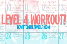 Level 4 workout... I can totally picture printing this for the home organization binder too.
