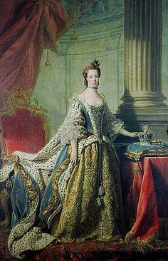 Queen Charlotte; Princess Sophia Charlotte of Mecklenburg-Strelitz, 1744 - 1818. Queen of George III  About 1763