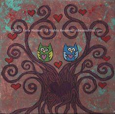 6x6 swirly tree & owl couple ♥