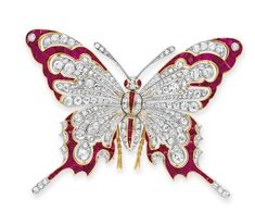 A Diamond and Ruby Brooch, Butterfly
