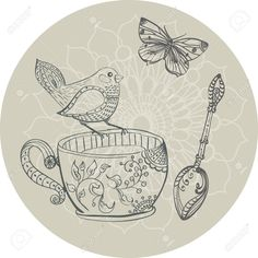 Tea Time Illustration With Flowers And Bird, Beautiful Background.. Royalty Free Cliparts, Vectors, And Stock Illustration. Pic 34141686.