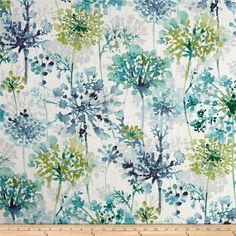 Mill Creek Hatherly Seawind features a watercolor floral design in aqua teal colors. A distinctive design from Swavelle Mill Creek Fabrics. Grey And Green Curtains, Green Kitchen Curtains, Grey Curtains, Green Fabric, Floral Fabric, Gray Bedroom, Trendy Bedroom, Master Bedroom, Drapery Fabric