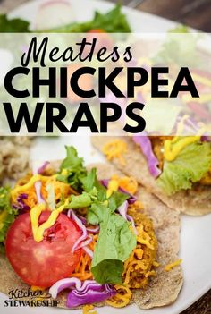 Chickpea Wraps - A meatless meal that doesn't feel like a sacrifice, this simple, nourishing wrap includes chickpeas (garbanzo beans), carrots, cumin and more. #meatless #vegetarian #cleaneatingrecipes #realfood