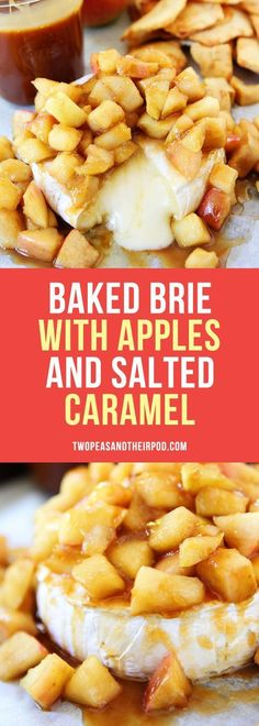 Baked Brie with Apples and Salted Caramel-this easy baked brie recipe is perfect for holiday entertaining! It only takes 20 minutes to make and is sure to be the hit of the party! Apple Recipes, Fall Recipes, Holiday Recipes, Christmas Recipes, Holiday Crafts, Appetizers For Party, Appetizer Recipes, Köstliche Desserts, Sweet Desserts