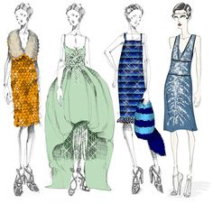 The Great Gatsby (2013) | Costume designer Catherine Martin enlisted Miuccia Prada to create costumes for Baz Luhrmann's adaptation of The Great Gatsby including those in this sketch.