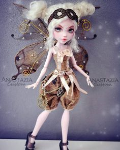 Cute doll by Anastazia Custom Monster High Dolls, Monster High Repaint, Custom Dolls, Pretty Dolls, Beautiful Dolls, Ooak Dolls, Barbie Dolls, Steampunk Dolls, Poppy Parker