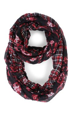 Deb Shops Woven Scarf with Plaid Floral Print $9.00