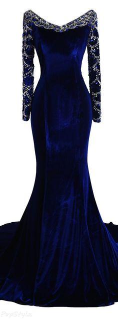Fanciest Long Beaded Velvet Evening Gown
