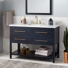 Buy the Signature Hardware 441655 Midnight Navy Direct. Shop for the Signature Hardware 441655 Midnight Navy Robertson Single Vanity Set with Wood Cabinet, Porcelain Vanity Top, and Rectangular Undermount Sink - Single Faucet Hole and save. Blue Bathroom Vanity, Navy Blue Bathrooms, Blue Vanity, Vessel Sink Vanity, Marble Vanity Tops, Vanity Cabinet, Small Bathroom, Bathroom Ideas, Bathroom Renovations