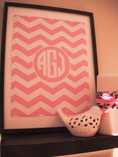 Chevron Monogram Printable: FREE :) with easy to follow directions! it turned out super cute!!