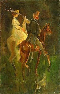 Gulácsy Lajos: SÉTALOVAGLÁS  1924  olaj, vászon (Gundel-gyűjtemény) Surviving In The Wild, Couple Art, Artist Art, Art Nouveau, Survival, Antiques, Animals, Beautiful, Portraits