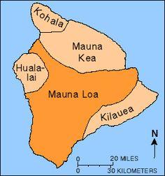 Map of outline of Mauna Loa Volcano