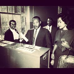 Martin Luther King and Coretta Scott King on Election Day 1964