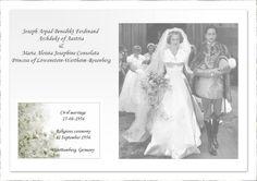 Archduke Joseph Arpad of Austria, wed Princess Maria Lowenstein-Wertheim-Rosenburg, on 12 September 1956. The bride wore the large diamond floral tiara of her family, see next pin.