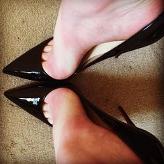 Black patent gloss Stilettos, peek toes and awesome arch opening for your tongue only, suck out all the juice ..