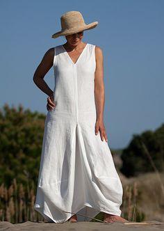 Long white linen dress