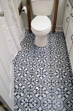 Learn how to stencil a tile pattern on a bathroom linoleum floor using the Augusta Tle Stencil. http://www.cuttingedgestencils.stfi.re/augusta-tile-stencil-design-patchwork-tiles-stencils.html