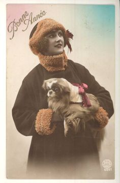 Pekingese holiday greeting card from Belgium, early 1900's
