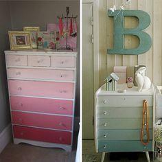 Muebles pintados en gradación de color