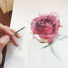 House Remodeling Is Residence Improvement Watercolorist: Wishyu_____ # Watercolor Video, Watercolor Painting Techniques, Watercolor Pictures, Watercolor Artists, Watercolor And Ink, Watercolor Illustration, Watercolour Painting, Watercolor Flowers, Rose Art