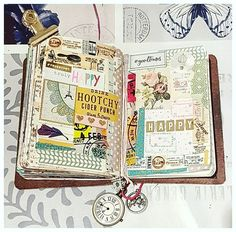 Tonight's relaxing craft spread in my passport size Traveler's Notebook.  #craft #crafting #craftbymarta #madebymarta #madebyme #crafttable #mycrafttable #mycraftroom #myhappyplace #paper #paperlove #paperaddict #papercraft #instaphoto #instadaily #instacraft #instascrap #scrap #scrapbook #scrapbooking #creativity #mtn #tn #travelersnotebook #washis #vintage #vintagepaper #winter2017 #march2017
