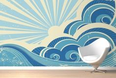 Retro Surf Mural Wallpaper - add a sun to Griff's mural? Retro Wallpaper Uk, Waves Wallpaper, Surfing Wallpaper, Ocean Mural, Beach Mural, Retro Surf, Vintage Surf, Mural Wall Art, Mural Painting