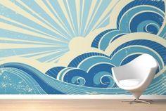 Retro Surf Mural Wallpaper - add a sun to Griff's mural? Ocean Mural, Beach Mural, Retro Surf, Vintage Surf, Waves Wallpaper, Retro Wallpaper, Surfing Wallpaper, Mural Wall Art, Mural Painting