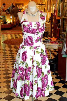 Cabaret Vintage - 1950s Inspired White and Purple Floral Dress, $125.00 (http://www.cabaretvintage.com/new-arrivals/1950s-inspired-white-and-purple-floral-dress/)