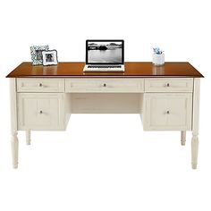 "Realspace® Shore Collection Executive Double-Pedestal Computer Desk, 29 15/16""H x 59 1/16""W x 23 5/8""D, Antique White/Cherry"