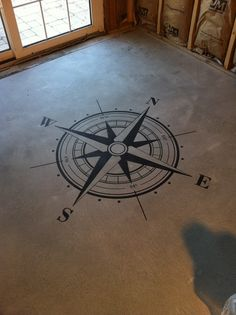 Compass Floor Stencil with latitude and longitude coordinates so my babies always know where home is
