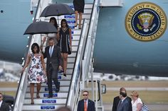 Malia's two-toned number felt right in step with her mother's floral design.