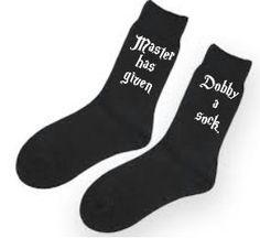 Master Dobby Socks / Harry potter gift / Harry potter quote socks novelty // Dobby Hogwarts spell magic wizard // Gift for him her // Unisex by MarloweAndMe on Etsy https://www.etsy.com/listing/260528569/master-dobby-socks-harry-potter-gift
