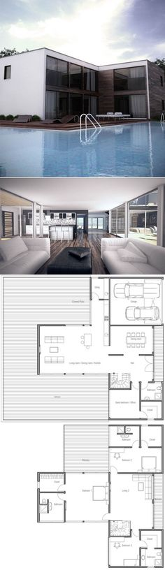 Contemporary House Plan with open planning, three bedrooms, two - plan de maison moderne 3d
