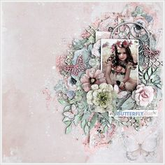 2Crafty Chipboard - 'Butterfly Kisses' layout by Kavitha