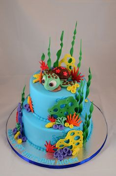 Finding Nemo (Squirt) - Close-up Ocean Cakes, Beach Cakes, Marzipan, Finding Nemo Cake, Finding Dory, Dory Cake, Mermaid Cakes, Disney Cakes, Fancy Cakes
