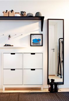 IKEA - STÄLL, Shoe cabinet with 4 compartments, white, Helps you organize your shoes and saves floor space at the same time. The cabinet only has legs at the front so it can stand close up to the wall above the baseboard. of 8 pairs of shoes. Entryway Shoe Storage, Ikea Storage, Entryway Decor, Storage Ideas, Paint Storage, Storage Racks, Entryway Ideas, Organized Entryway, Organization Ideas