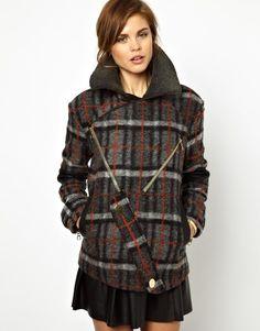 cozy plaid winter coat