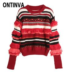 Girls Tassel Red Striped Sweater Pullover Winter Fashion Full Sleeve O Neck Tops Female Sweaters 2017 New Arrivals Jumper Tops-in Pullovers from Women's Clothing & Accessories on Aliexpress.com | Alibaba Group